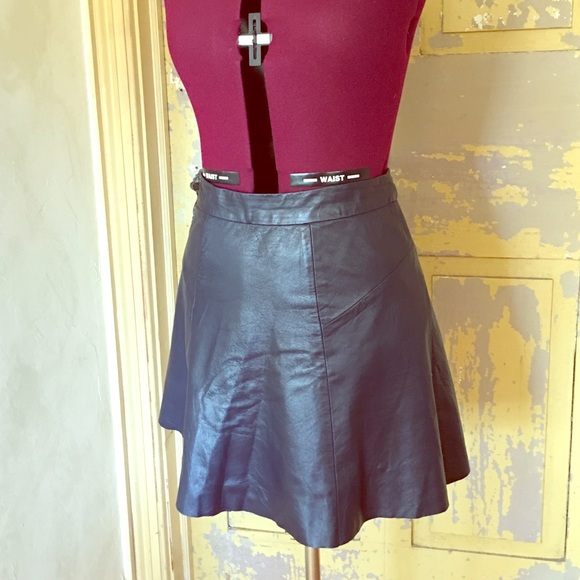 69a0f26f57 Wink Skirts   Navy Blue Aline Faux Leather Skirt   Poshmark